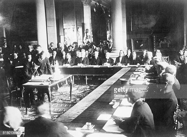 8/23/1920Sevres France Signing the Turkish Treaty with the Allies Photo shows Haki Pacha signing The inkstand being used is the one ordered by the...