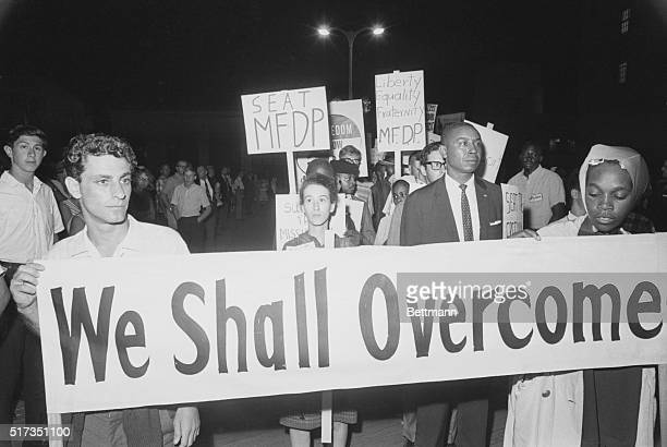 8/24/1964Atlantic City NJ Some 100 civil rights demonstrators kept an allnight vigil before the Democratic Convention Hall in an attempt to seat...