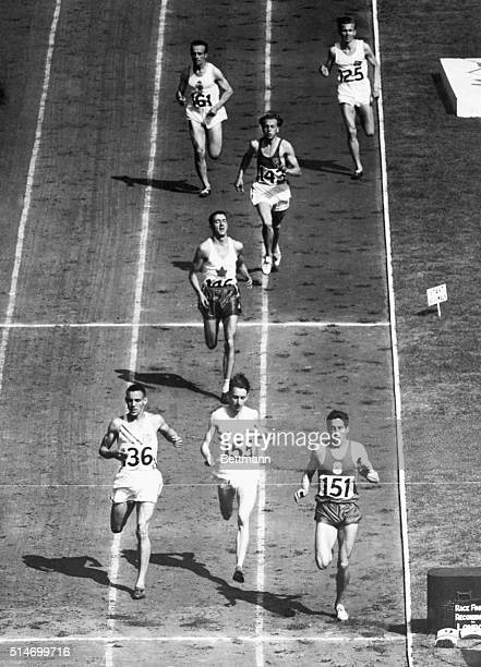 8/2/48London England Here's a birdseye view of the finish of the 800meter semifinal race at the Olympics at Wembley Stadium Marcel Hansenne of France...