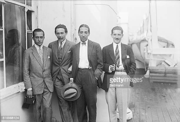 New York, NY: Photo shows left to right Henri Cochet, Jean Borotra, Rene La Coste, and Jacques Brugnon french tennis team as they sailed for home....