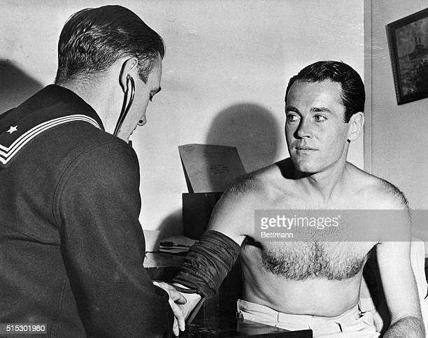 8/25/1942Los Angeles CAStage and screen actor Henry Fonda having his blood pressure checked during his US Navy physical examination by Pharmicist's...