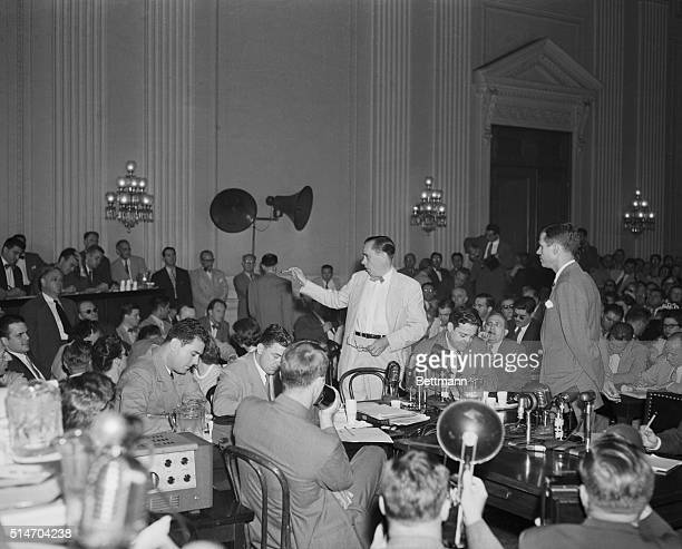 8/25/1948Washington DC Alger Hiss and Whittaker Chambers come face to face today at a dramatic public hearing of the House Committee on UnAmerican...