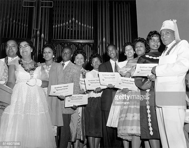 8/25/1958Wahsington DC Seven of the nine Negro youngsters who attended Little Rock's Central High School last year under the protection of Army...