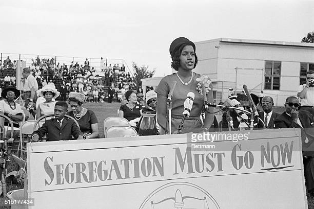8/25/1963Washington DC Mrs Medgar Evers widow of the slain integrationist leader is shown addressing a National Association for the Advancement of...