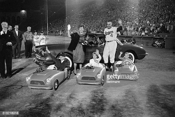 """Los Angeles, California- Los Angeles outfielder and his family wave from part of the gifts given to Snider on """"Duke Snider Night"""" at the Los Angeles..."""