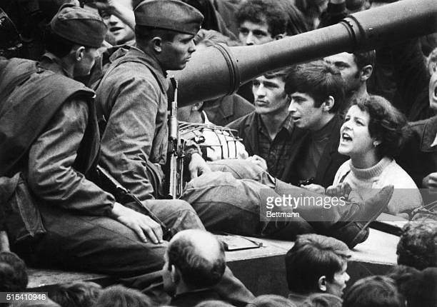 8/26/1968Prague Czechoslovakia This young Czech girl lets her feelings be known as she shouts Ivan GO Home to soldiers sitting on tanks in the...