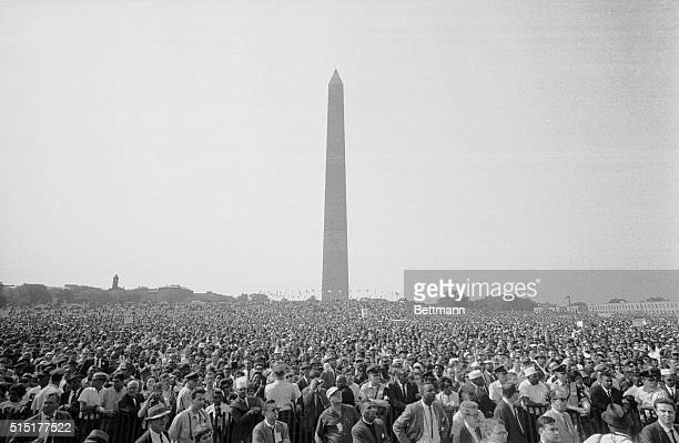 8/28/1963Washington DC Demonstrators are gathered in front of the Washington Monument here today awaiting the start of the March on Washington...