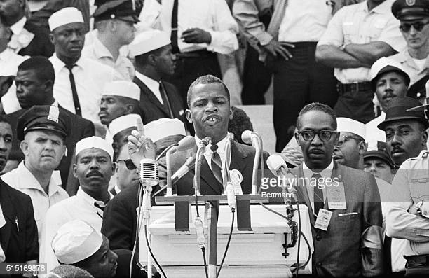 Washington, D.C.: Portrait of John Lewis, Chairman of the Student Non-Violent Coordinating Committee, speaking at the Lincoln Memorial to...