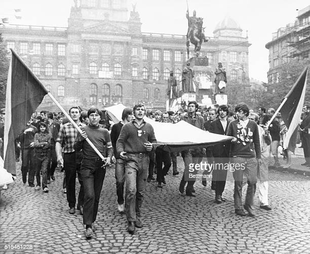 8/28/1968Prague Czechoslovakia Bannercarrying chanting Czechoslovaks demonstrate in Wenceslaus Square following nationwide radio address by Czech...