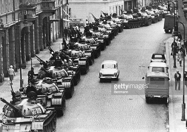 8/28/1968Prague Czechoslovakia Soviet tanks line AtlstaedterRing Street in Prague early August 28th Reports August 27th indicated most Warsaw Pact...