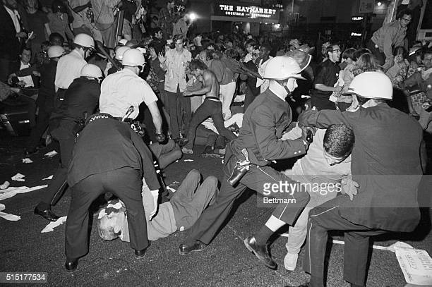 8/28/1968The 'Black' Year Police and demonstrators are in a melee near the Conrad Hilton Hotel on Chicago's Michigan Avenue August 28th during the...