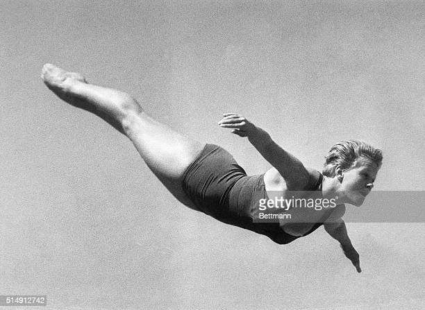 8/29/1960Rome Italy Ingrid Kramer of Germany soars through the air during the high diving elimination contest Miss Kramer was first in the...