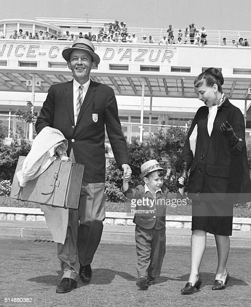 Entertainer Bing Crosby with his wife Kathryn and son Harry are shown after arriving from London August 25th They are planning to enjoy a holiday in...