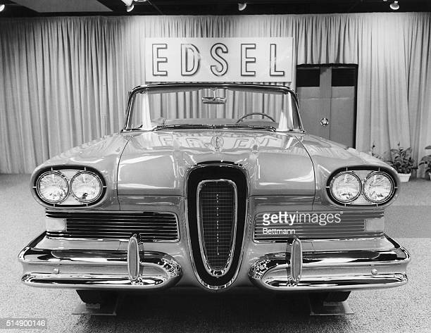 Detroit, MI: Front view of a Ford Edsel Citation convertible in a showroom.