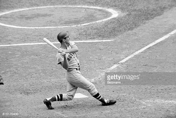 8/30/1967Boston Red Sox player Carl Yastrzemski is shown swinging at what would be his 35 home run