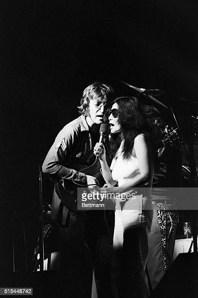 8/30/1972New York NY John Lennon and Yoko Ono performing during a concert held at Madison Square Garden in conjuction with a Central Park rally