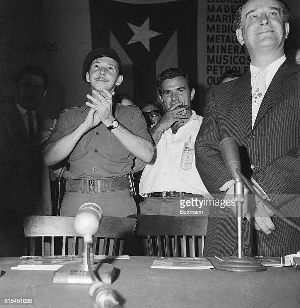 8/3/1960Havana Cuba Cuban Armed Forces Minister Raul Castro applauds behind ousted Guatemalan exPresident Jacobo Arbenz before mounting podium for...