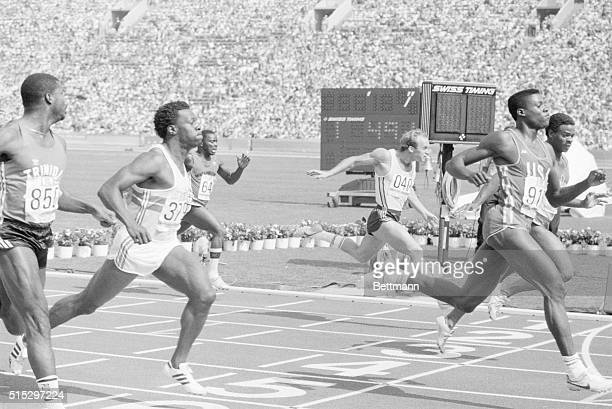 Los Angeles, CA- American athlete Carl Lewis coasts to victory in his 100m first-round heat, in a time of 10.32 seconds, kicking off his bid for four...
