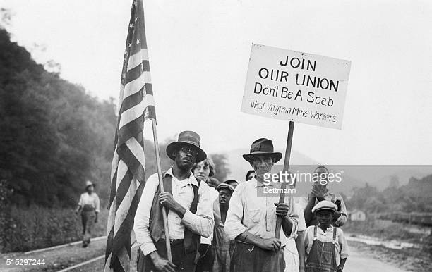 Ward, W. Virginia- Photo shows some of the leaders at the head of the parade of striking miners and their families at Ward, where 600 miners and...
