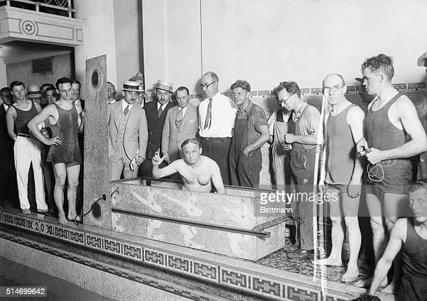 Photo shows Harry Houdini in Casket shortly before it was sealed for submersiion
