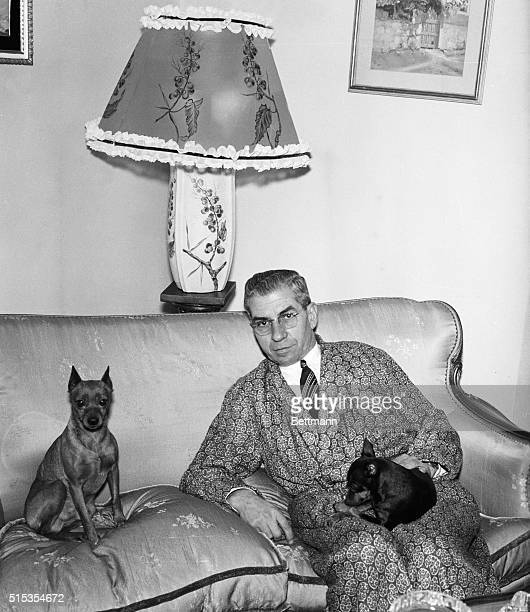 8/5/1958Naples Italy Former American vice king Charles Lucky Luciano relaxes at his Naples home while awaiting a court decision Recently Luciano...