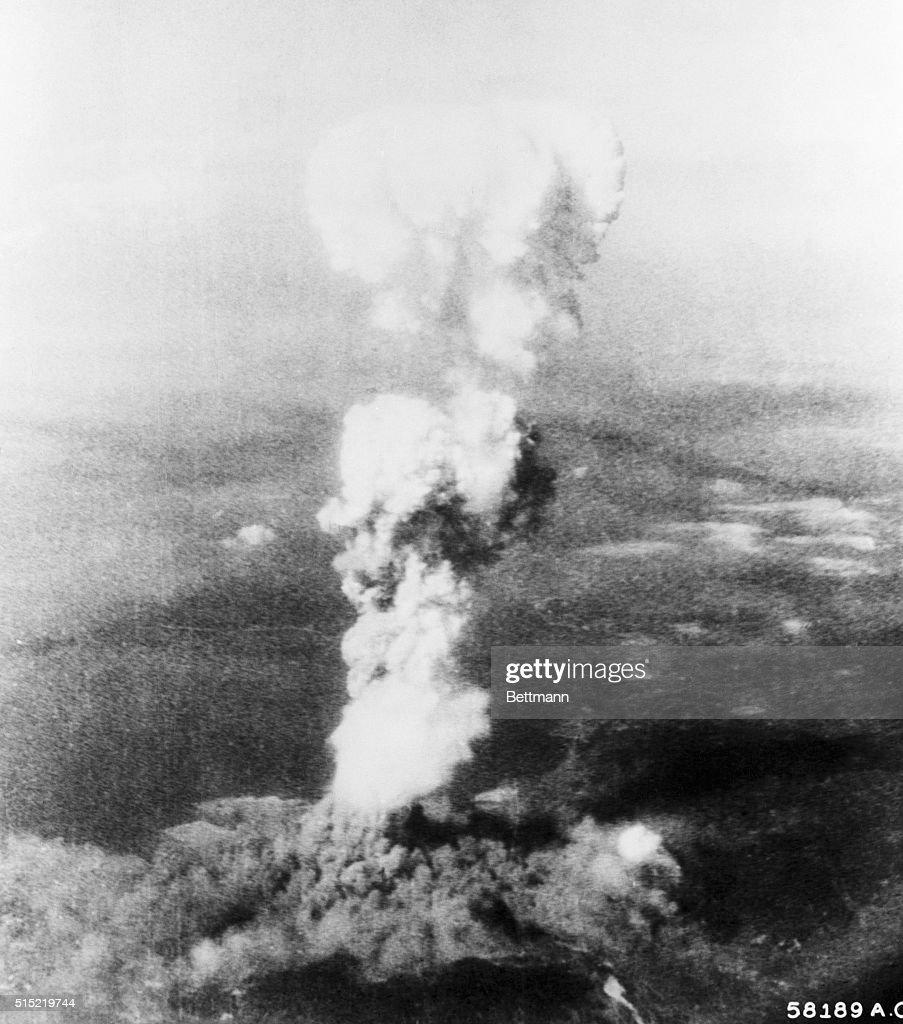 Mushroom Cloud from Atomic Bomb Dropped on Hiroshima : News Photo