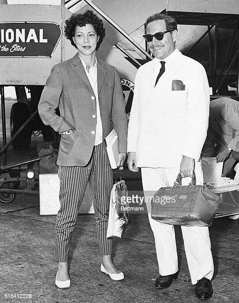 New York, NY-: Playwright Tennessee Williams , author of the Broadway play Sweet Bird of Youth, poses with actress Diana Barrymore at New York's...