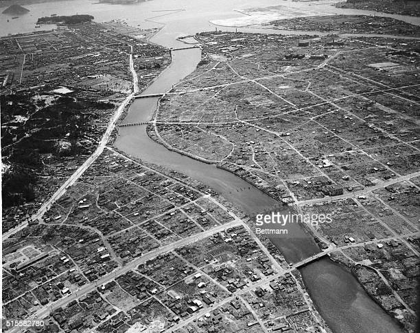 Hiroshima, Japan: Here is a reconnaissance view of the Japanese Army base at Hiroshima, which was the first enemy target to feel the devestating...