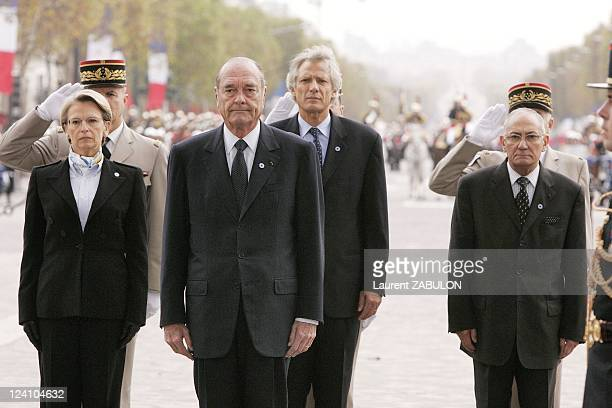 87th Armistice Day commemorations In Paris France On November 11 2005 French President Jacques Chirac after he laid a wreth with Defence Minister...