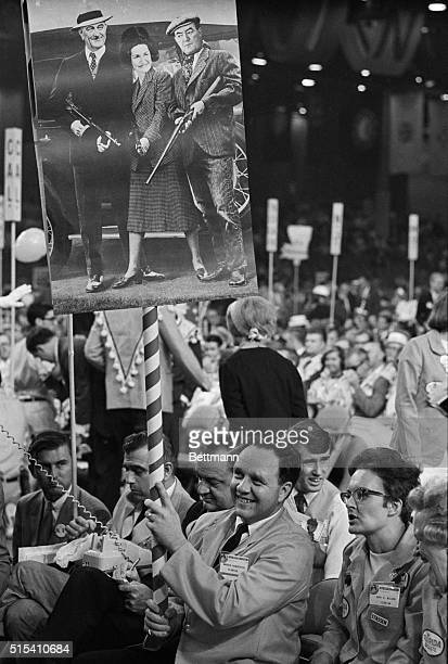 8/8/1968Miami Beach FL Delegate Warren Henderson of Florida holds up a Bonnie and Clyde poster on the floor of the Republican National Convention...