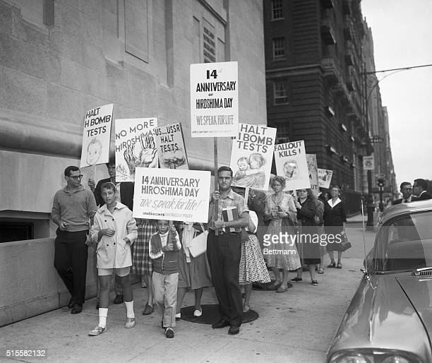 """New York, NY: Hiroshima Bombing anniversary. """"No more Hiroshima"""" is the theme of a walk held by the West Side Committee for a Sane Nuclear Policy...."""