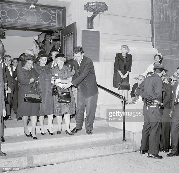 The mothers of the three civil rights workers murdered in Mississippi leave the meeting hall of the Society for Ethical Culture where funeral...