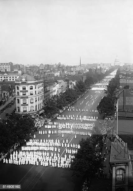 8/9/25Washington DC Overhead view of the Ku Klux Klan parading on Pennsulvania Avenue