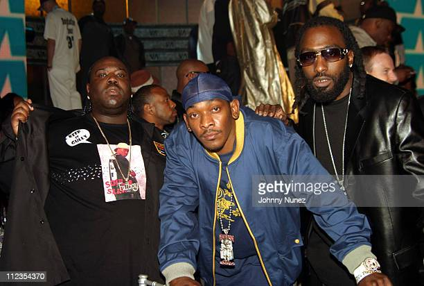 8Ball Petey Pablo and MJG during 2004 Vibe Awards Show at Barker Hanger in Santa Monica California United States