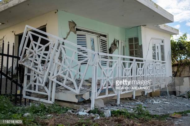 Houses collapsed by a 58 earthquake are seen in Guanica Puerto Rico on January 6 2020 A 58magnitude earthquake shook Puerto Rico on January 6...
