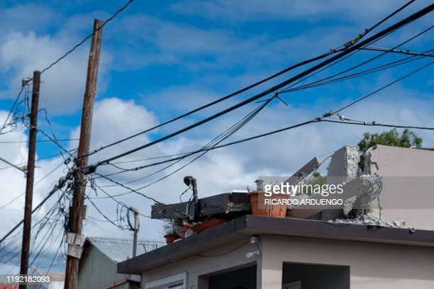 Houses damaged by a 58 earthquake are seen in Guanica Puerto Rico on January 6 2020 A 58magnitude earthquake shook Puerto Rico on January 6 toppling...