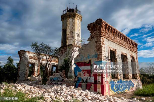 The collapsed wall of the ruins of an iconic landmark lighthouse is seen in Guanica Puerto Rico on January 6 after it was destroyed by an earthquake...