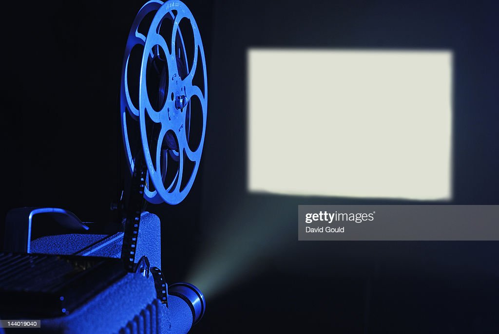 8mm film projector running and blank screen : Stock Photo