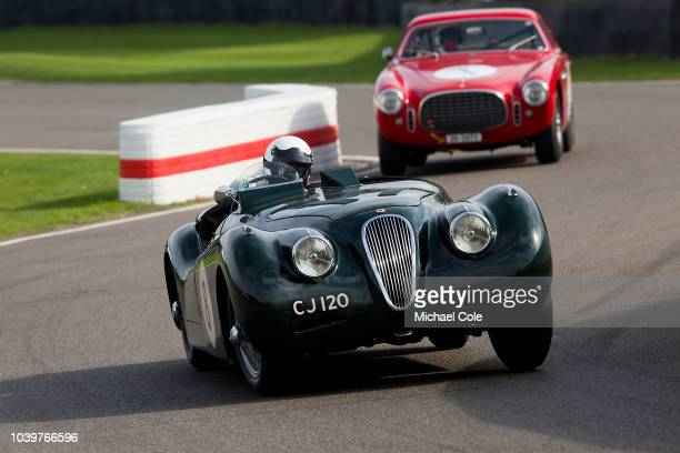 8th: 1951 Jaguar XK 120 LT2 driven by Robert Newall in the Fordwater Trophy race at the 20th anniversary of the Goodwood Revival at Goodwood on...