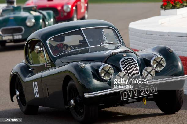 1954 Jaguar XK120 FHC driven by Chris KeithLucas in the Fordwater Trophy race at the 20th anniversary of the Goodwood Revival at Goodwood on...