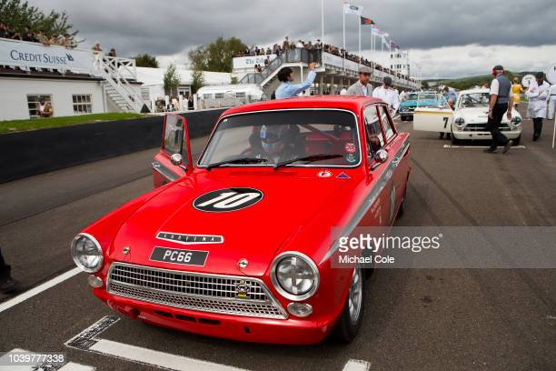 1963 FordLotus Cortina Mk 1 driven by Ash Sutton on the Starting Grid for the St Mary's Trophy race at the 20th anniversary of the Goodwood Revival...
