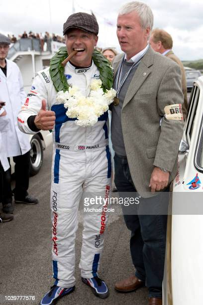 Andy Priaulx winner of the St Mary's Trophy race driving a 1963 FordLotus Cortina Mk 1 at the 20th anniversary of the Goodwood Revival at Goodwood on...