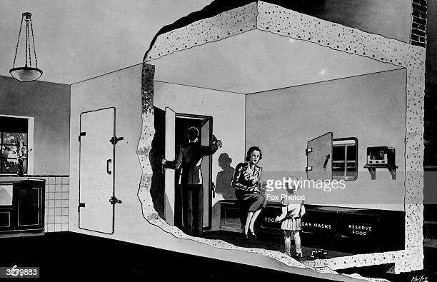 An illustration of a simple concrete shelter for inside the house to help protect against bomb and gas attacks during WW2