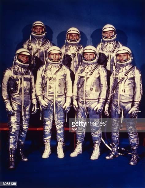 The seven astronauts of NASA's Mercury programme Walter M Schirra Deke Slayton John Glenn Jnr M Scott Carpenter Alan B Shepard Jnr Virgil I Grissom...