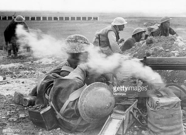 A 8th Army corp machine gun battalion exchanging shots with elements of the German army on the outskirts of Derna Feburary 1941