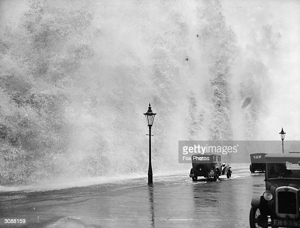 Stormy weather at Scarborough in Yorkshire.