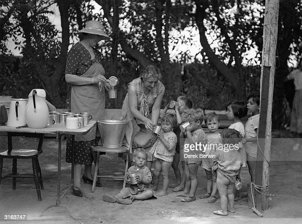 British refugees from Spain at a camp in Gibraltar