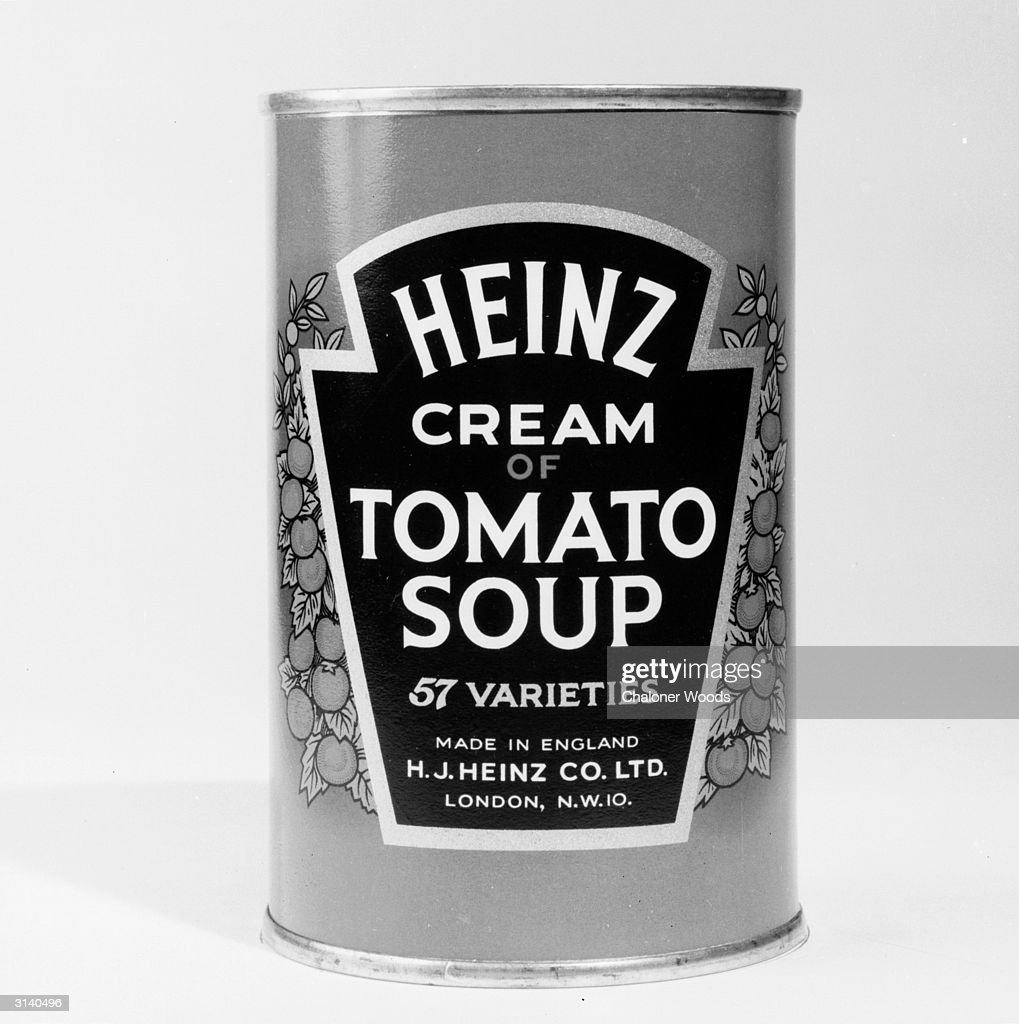 A close-up of a tin of Heinz cream of tomato soup.