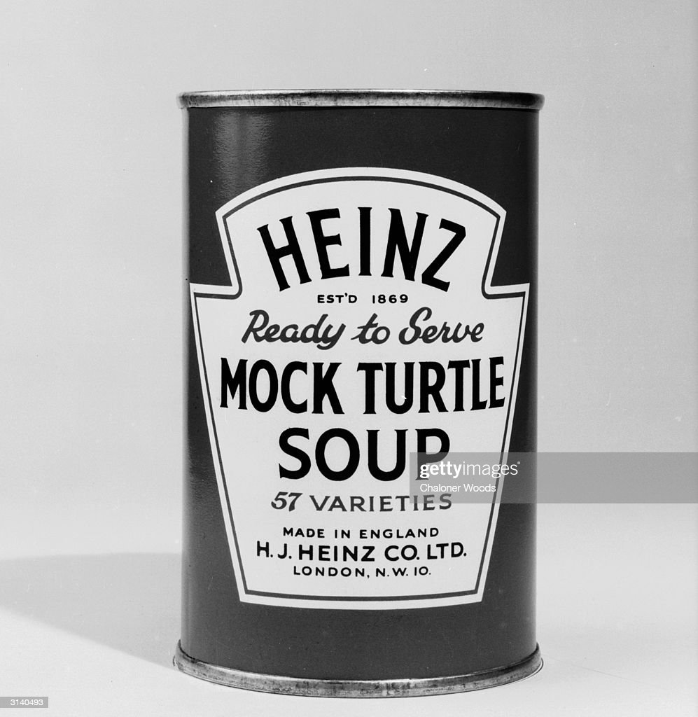 A close-up of a tin of Heinz ready-to-serve mock turtle soup.