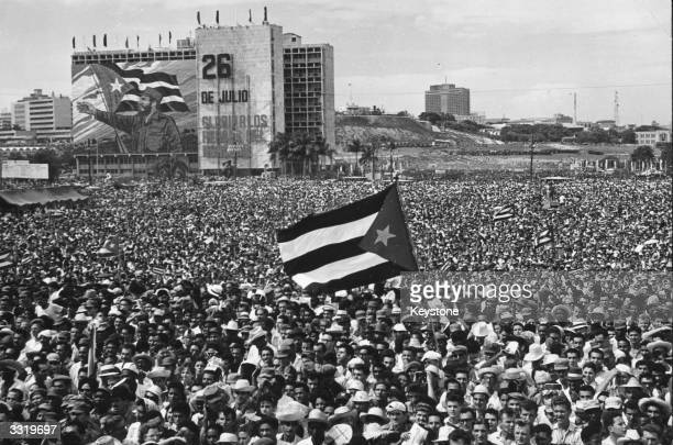 The crowd at Revolution Square Havana during celebrations to mark the anniversary of the assault on Moncada's Barracks They are listening to a speech...